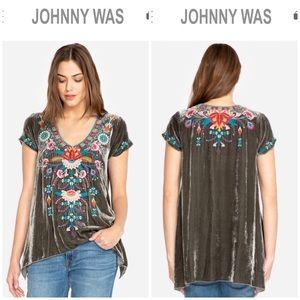 Johnny Was •. Delphine Velvet Drape Top